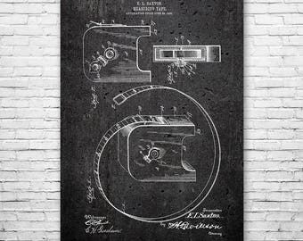 Retractable Measuring Tape Poster Patent Print FREE SHIPPING, Measure, Tools, Carpenter, Construction, Contractor, Handyman, Vintage, Wall