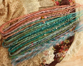 """Double Ended Synthetic Dreads Extension """"Mermaid Set"""" Afromod Unicorn Rainbow Style"""