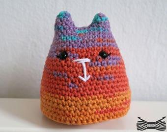 Crochet Rainbow Cupcake Cat Amigurumi - ready to ship