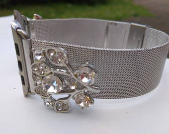 Women's Apple Watch Band 42mm Apple Watch Band Silver Apple iWatch Band 42 mm Women's iWatch Band Bracelet, Series I II Fitted handmade