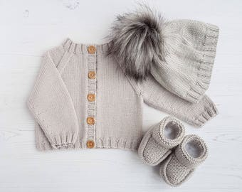 Knit baby set-luxury baby layette-baby cardigan, hat, booties set-hand knit baby-3-6 month baby clothing-baby shower gift-knit baby clothes