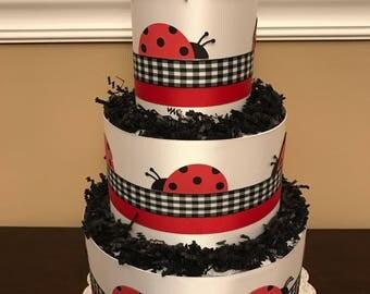 Diaper Cake JoJo Ladybug Parade Red Black Girls Pampers Baby Shower Centerpiece