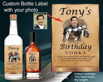 Titos vodka label for him. Personalized whiskey label. Unique gift for a man. Fathers day gift ideas. Personalized gift with a photo.