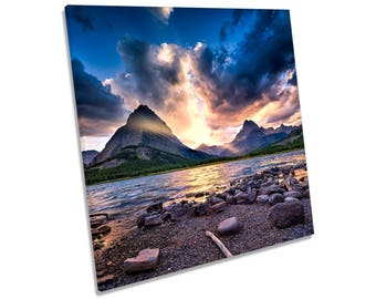 Mountain Sunset Landscape Lake CANVAS WALL ART Square Print