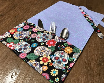SKULLS / placemat roll utenciles, portable place mat, for school, for work, placemat for lunchbox!
