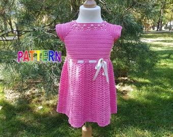 baby crochet dress pattern, dress pattern, crochet yoke dress pattern (sizes 9-12 months to 5 years old), toddler crochet dress pattern