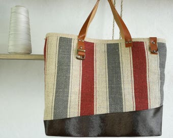 Leather handles and burlap striped tote bag