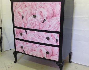 Upcycled furniture, flamingos, drinks cabinet, storage, statement furniture.