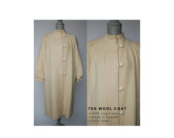 70s Wool Coat | Cream Wool Coat | Wool Spring Coat | White Wool Coat | Round Yoke 70s Spring Jacket | Wool Spring Jacket | 70s Wool Jacket