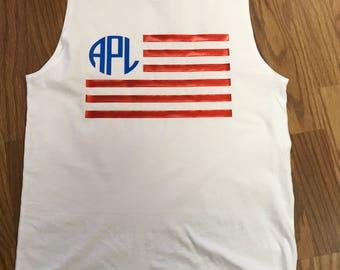 Sleeveless American Flag Monogram Tank