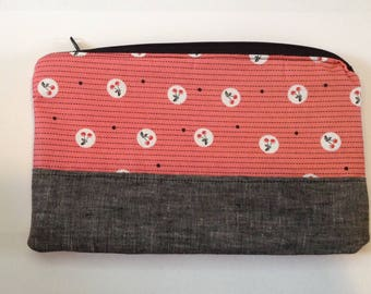 Custom makeup bag zipper pouch travel personalized bag cosmetic bag sunglasses pouch  - cherries zippered pouch