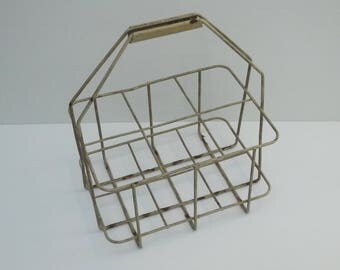 Vintage french Country Bottle Holder Wine Carrier Metal 6 compartments by Caddy Circa 1960 s