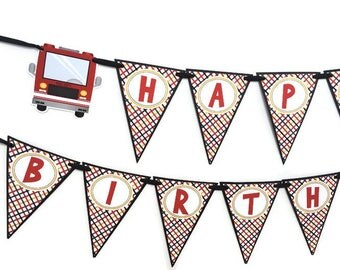 Fire Truck Banner - Fire Truck Party Decorations - Fire Truck Birthday Party - Fire Truck Party Banner - Fireman Party - Firefighter Party