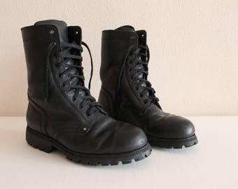 Combat Boots Black Boots Black Ankle Boots Lace Up Boots Vintage Army Combat Boots Military Boots Motorcycle Boots Army Boots Size 43