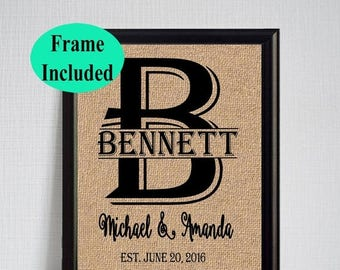 ON SALE Unique Wedding Gift - Personalized Wedding Gifts For Couples - Monogram Frame- Wedding Gifts -Anniversary Gift - Framed Burlap Print