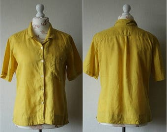 SALE 20% GUDRUN SJODEN Yellow linen blouse with short sleeve and classic collar Scandinavian fashion Easy symmetry blouse Butting up women's