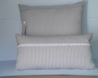 grey and beige striped canvas pillow