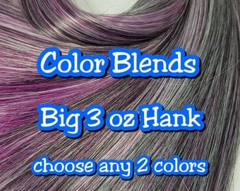 Big 3oz (85g) Hank 2 Color BLENDED Nylon Doll Hair Hank for Rerooting Barbie® Monster High® Ever After High® MLP Royalty Disney