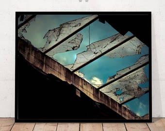 Modern Art Photography, Modern Art Print, Urban Sky, Decay Print, Deserted Building
