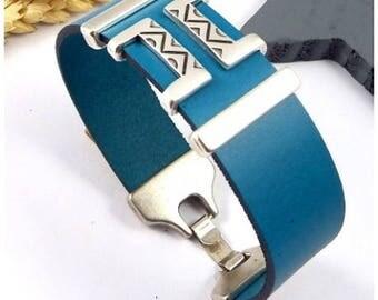 Ethnic blue leather bracelet
