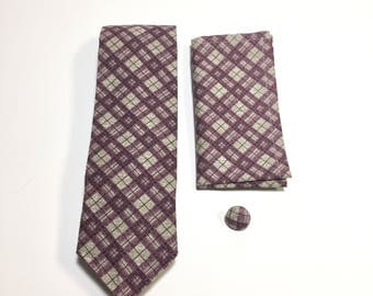 Men's Necktie, purple Pocket Square, purple tie, plaid design, lapel pin, wedding accessory, holiday gift, Suit Accessory, groomsmen gift