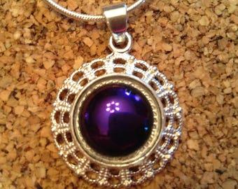 Dichroic Jewelry-Fused Glass Jewelry-Purple Dichroic Jewelry-Filigree Setting