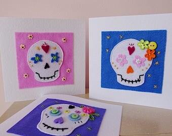 sugar skull card, day of the dead, tattoo card, rockabilly card, mexican skull, skull birthday card, girlfriend birthday, card for friend,
