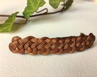 Hair clip - leather ropes  knotted - copper