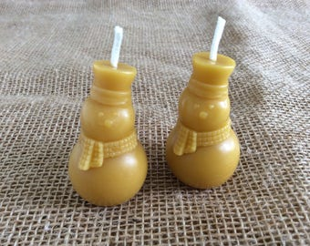 Snowman Beeswax Candle, Pair of Beeswax Candles, Pair of Snowmen Candles, Novelty Beeswax Candles, Pure Beeswax Candles, Christmas Candles