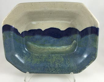Stoneware Rectangular Serving Bowl : with angled sides