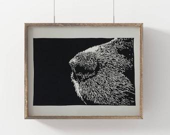 Original Dog Nose Linocut Art Print