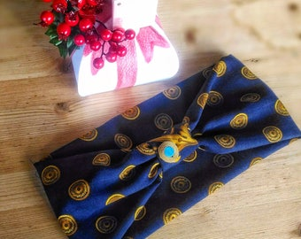 Blue and gold turban headband, with jewel in Soutache and turquoise