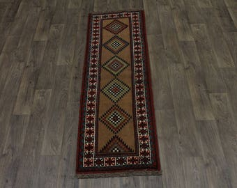 Excellent Hallway Tribal Wool Ghoochan Persian Area Rug Oriental Carpet 2X7