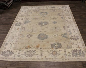 Spectacular Hand Knotted Oushak Pure Wool Indian Rug Area Oriental Carpet 9X12