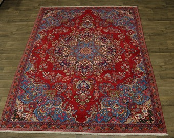 Captivating Design Rare Vintage Sabzevar Persian Rug Oriental Area Carpet 7X10