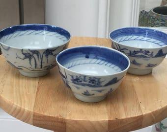 Three 19th Century Chinese blue and white bowls
