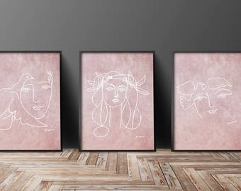 Wall Art Set Of 3 Prints Rose Pink Wall Art Portrait Art Picasso Poster  Pictures For