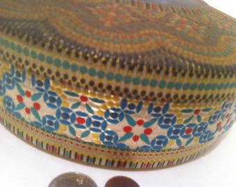 Vintage Metal Tin Can, Colorful, Made in Holland, Patina, 8 x 3 inches