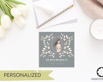 Brunette, Feminine Bookplates - Bookplates - Printable Bookplates - Personalized Bookplates