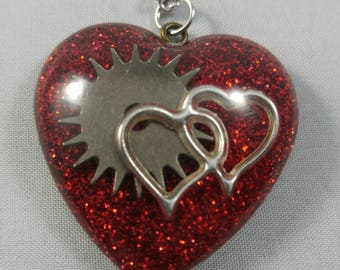 Steampunk Hearts and Gear Pendant