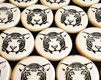 White Tiger Decorated Sugar Cookies