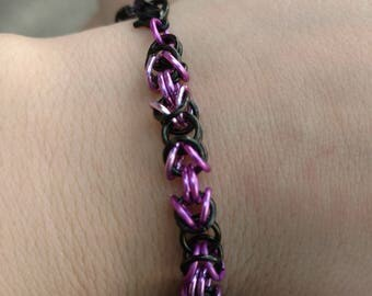 Purple and black Byzantine weave Chainmaille Bracelet