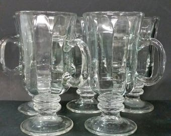 Vintage glass pedestal coffee mugs