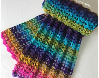 Crochet scarf, ladies wear, wrap, winter scarf, bright colours, perfect gift, READY TO SHIP