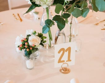 wedding hand lettered table numbers, wedding decorations, wedding calligraphy, modern calligrapy lettering, gold lettering,