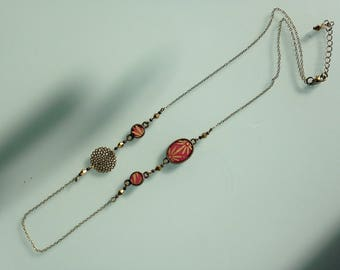 Japanese paper necklace rose gold flowers.