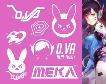 D.Va 송하나 Overwatch Tank Hero | Vinyl Decal Sticker, MEKA, Overwatch, Blizzard, Gaming, 17 Colors, Oracle Long Lasting | SneakyStickers
