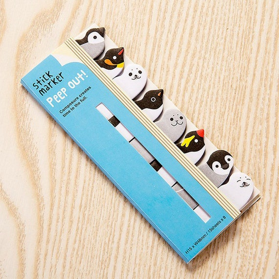 Penguin Peep Out Sticky Memo Markers Tabs