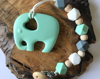 Hexagons Silicone Pacifier Clip /Teething Set in Sweet Mint; Soother Clip; Dummy Clip; Paci clip; binky clip; teething set; owl teether
