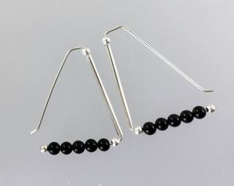 Triangle earrings/Onyx triangle earrings /balck stone triangle earrings /black triangle/ earrings /Pearlzaustralia /onyx jewellery /Onyx